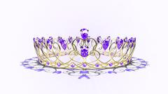 Filigree Crown - Gold & Purple Stock Illustration
