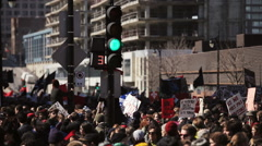 Riot in the Montreal Streets to counter the Economic Austerity Measures. Stock Footage