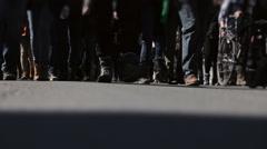 Lots of People's Feet Closeup Walking in the Street Stock Footage