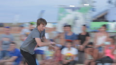 Competition of Rollerskating in Minirampe. Young Boy Riding on Roller Skates Stock Footage
