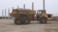 Truck Delivering Sand On A Construction Site Stock Footage