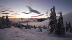 Sunrise in winter Carpathian mountains, Dragobrat, Ukraine. HD Stock Footage
