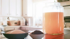 Man Putting the SCOBY on top of new Batch of Kombucha Stock Footage