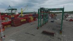 Aerial containers view. Drone flight over import and export harbour containers, - stock footage