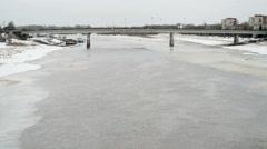 The bridge via Volhov river, Winter, Veliky Novgorod Stock Footage