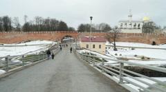 Old towers of Novgorod Kremlin and the bridge, Veliky Novgorod, Russia Stock Footage