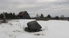 Decrepit barn in winter Stock Footage