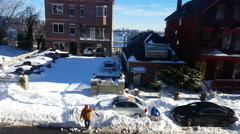 People removing Snow. Stock Footage