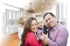 Happy Young Family Over Custom Kitchen Design Drawing and Photo Combination. Stock Photos