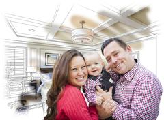 Happy Young Family With Baby Over Custom Bedroom Drawing and Photo Combinatio Stock Photos