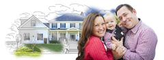 Happy Young Family With Baby Over House Drawing Isolated on a White Backgroun Stock Photos