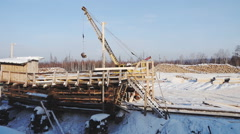 Logging in the winter in Siberia Stock Footage