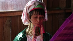 Padaung tribe long-necked tribe woman. Inle lake, Myanmar, Burma Stock Footage