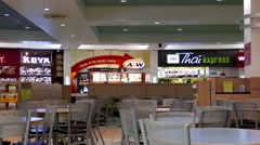 One side of people eating food at food court area inside shopping mall - stock footage