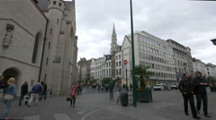 St Nicholas Church, the City Hall's Tower and the Brussels Stock Exchange - stock footage