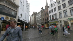 Rue au Beurre seen on a rainy day in Brussels Stock Footage