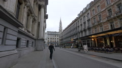The City Hall's tower seen from Rue Henri Maus in Brussels - the capital of the  Stock Footage