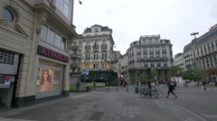 Boulevard Anspachlaan seen from Rue Henri Maus in Brussels Stock Footage