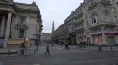 The City Hall's tower seen from Boulevard Anspachlaan in Brussels Stock Footage
