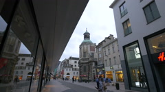 Church of Notre-Dame du Finistere in Brussels Stock Footage