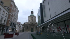 Church of Notre-Dame Du Finistere seen from Rue aux Choux in Brussels Stock Footage