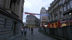 Marriott Hotel Grand Place seen from Rue de la Bourse in Brussels Stock Footage