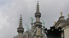 Towers and statues on the roof of City Museum in Grand Place in Brussels Stock Footage