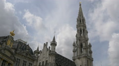 The tower of the Town Hall,  in Grand Place, Brussels Stock Footage
