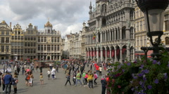 People walking in front of the City Museum in Grand Place, Brussels Stock Footage
