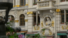 View of a beautiful building with golden decorations in Brussels Stock Footage