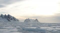 Antarctica ice field at sunset Stock Footage