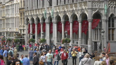 People walking in Grand Place, in front of the City Museum, Brussels Stock Footage