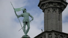 Statue on the roof of City Museum in Grand Place in Brussels Stock Footage