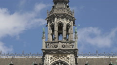The tower with balcony of the City Museum in Grand Place in Brussels Stock Footage