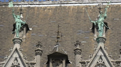 Decorations on the roof of the City Museum in Grand Place in Brussels Stock Footage