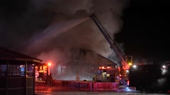Heavy Smoke at Barn Fire in Winter Stock Footage