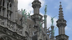 Decorations and statues of the City Museum in Grand Place in Brussels Stock Footage