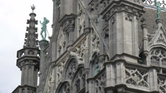 Close up of the neo-gothic facade of the City Museum in Grand Place in Brussels Stock Footage