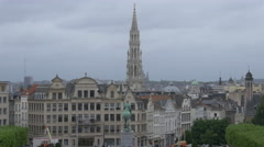 The City Hall of Brussels' tower seen from the Mont des Arts Garden, Brussels Stock Footage
