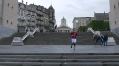 Walking on the stairs at Kunstberg, in Mont des Arts square, Brussels Stock Footage