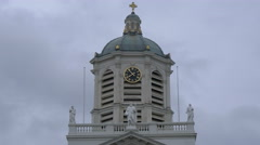 The clock tower of Saint Jacques-sur-Coudenberg Church, Brussels - stock footage