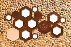 The metal molecule icon sign on stone wall background with shadow Stock Photos