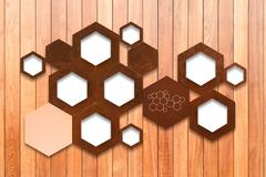 The metal molecule icon sign on wooden wall background with shadow - stock photo