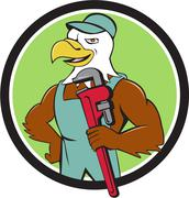 Bald Eagle Plumber Monkey Wrench Circle Cartoon Stock Illustration