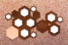 The metal molecule icon sign on stone wall background with shadow - stock photo