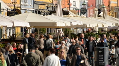 Zoom Out - People in the Nyhavn District Daytime  - Copenhagen Denmark Stock Footage