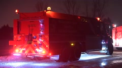 Fire Truck on Icy Road - stock footage