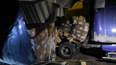 Transport Truck Ripped Open Stock Footage