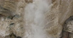 Aerial view of Hukou Waterfall or the Yellow River Shanxi China - stock footage