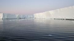 Iceberg field, Antarctic Sound, twilight Stock Footage